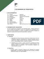 SILABO DE INGENIERIA DE TRANSPORTES