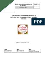 PROTOCOLO PARA EL INGRESO Y DESARROLLO DE LABORES, PARA TRABAJADORES POR PANDEMIA COVID19 RESTAURANTE (1)