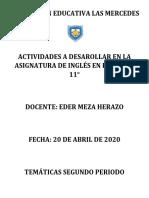 INGLÉS 11 SEGUNDO PERIODO