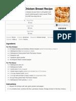 Creamy Garlic Chicken Breast Recipe