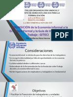 LA RECOMENDACIÓN 204 OIT      «TRÁNSICIÓN de la Economia Informal a la Economía Formal y la Guia de Inspeccion de Trabajo - GITECI