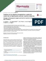 Cambios en los objetivos terapéuticos y gardo de control de la hipertensión arterial - nuevas evidencias