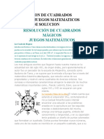 RESOLUCION DE CUADRADOS MÁGICOS JUEGOS MATEMATICOS METODO DE SOLUCION