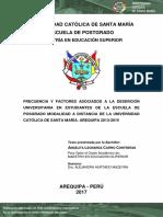 FRECUENCIA Y FACTORES ASOCIADOS A LA DESERCION UNIVERSITARIA EN ESTUDIANTES DE LA ESCUELA POSGRADO