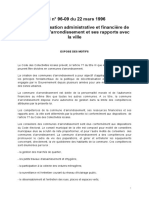 Loi 96-09 fixant l'organisation administrative et financiere des communes d'arrondissement
