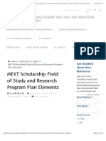 MEXT Scholarship Field of Study and Research Program Plan Elements | TranSenz