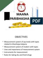 Maan Paribhasha (ancient measurement Metric system)