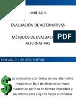 UNIDAD II EVALUACIÓN DE ALTERNATIVAS  IEC115 CICLO I 2020