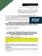 PROYECTO DE LEY QUE REDUCE LAS TARIFAS ELECTRICAS EN LAS REGIONES MAS POBRES EN MARCO AL COVID 19.docx