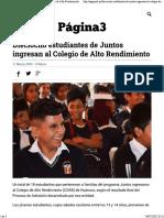 Dieciocho Estudiantes de Juntos Ingresan Al Colegio de Alto Rendimiento - Página3