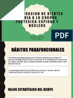 RESTAURACION DE DIENTES PREVIA A LA CORONA PROTESICA-ESPIGOS