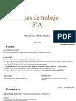 Fichas de trabajo 3°A correciones