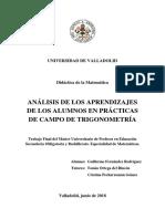 Análisis de los aprendizajes de los alumnos en prácticas de campo de trigonometría