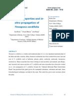 Medicinal properties and in-vitropropagation of Tinospora cordifolia