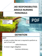 DUTIES AND RESPONSIBILITIES OF VARIOUS NURSING PERSONALS