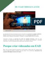 Vantagens de usar videoaulas em EAD
