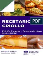Recetario Criollo BARC - Edicion Especial Mayo 2020