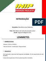 0 - INTRODUÇÃO - RESISTÊNCIA DE MATERIAIS