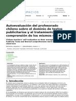 Autoevaluación del profesorado chileno sobre el dominio de textos publicitarios y el tratamiento de la comprensión de los mismos en el aula