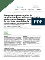 Representaciones sociales de estudiantes de periodismo, contextos posibles para favorecer las prácticas de escritura especializada
