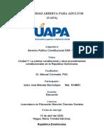UNIDAD V La justicia constitucional y otros procedimientos constitucionales en la Republica Dominicana.