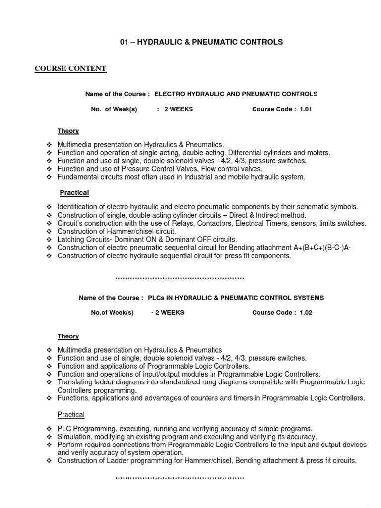 Course Content HPC | Programmable Logic Controller | Pneumatics