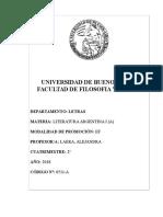 LITERATURA ARGENTINA I A 2º CUATRI 2018 DEFINITIVO