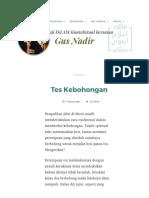 Tes Kebohongan _ Gus Nadirsyah Hosen