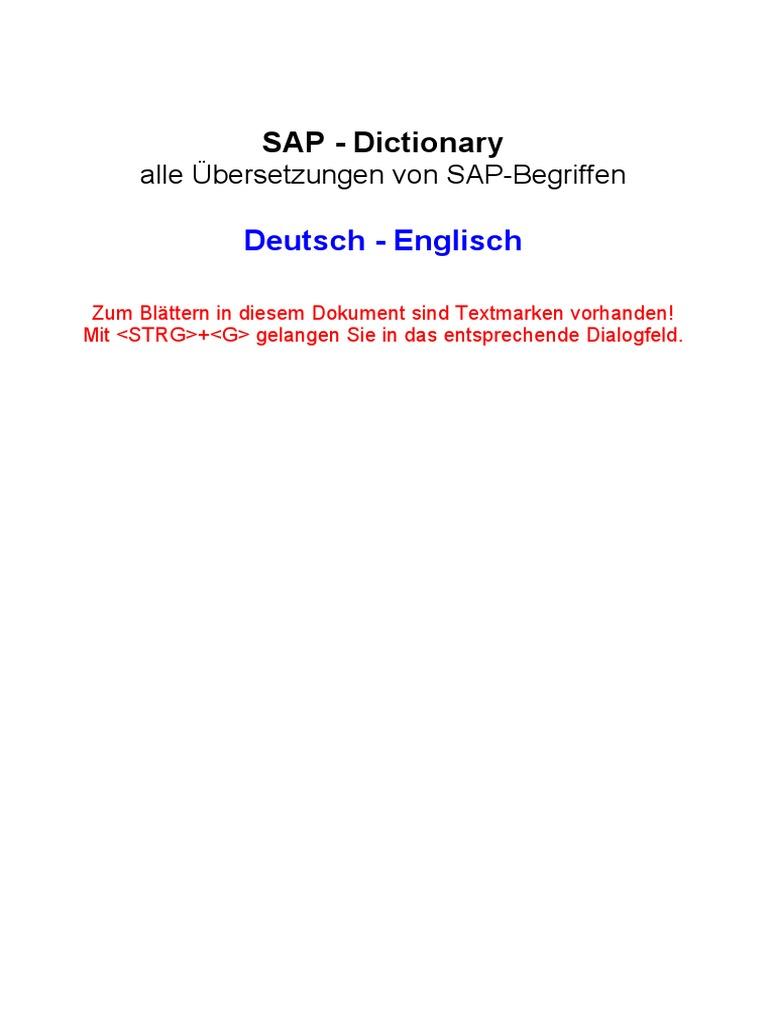 SAP Dictionary German English | Debits And Credits | Employment