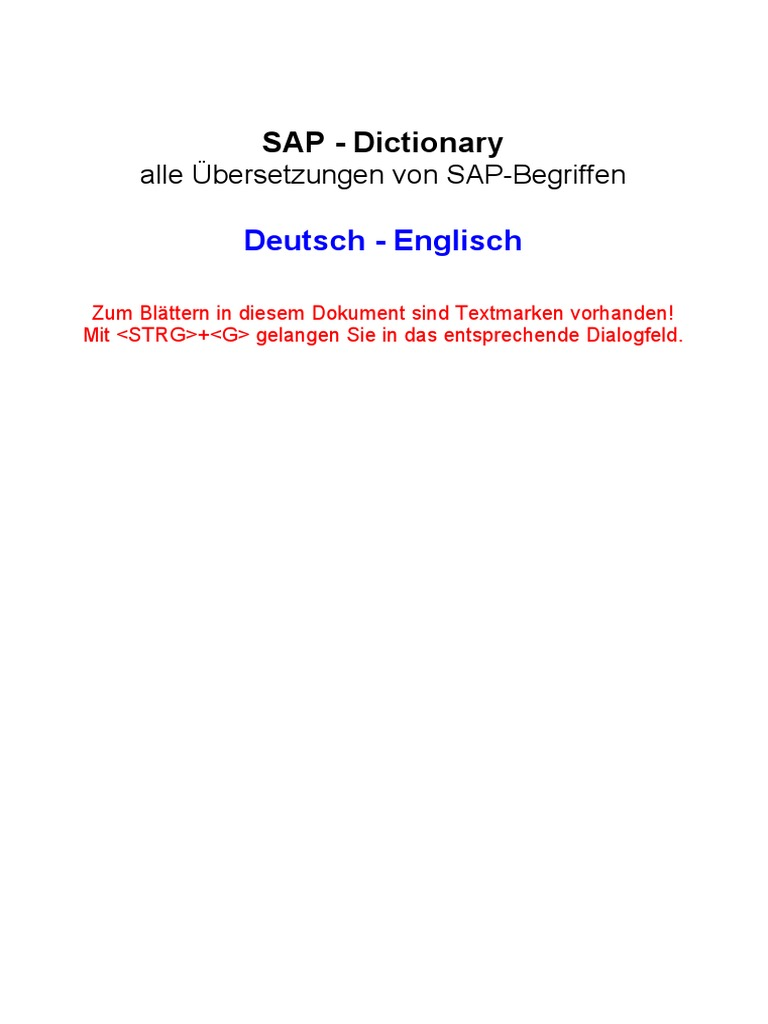 SAP Dictionary German English | Debits And Credits | Employment