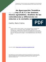 Castillo, Maria Cristina (2005). El Test de Apercepcion Tematica de Murray (T.A.T.) las laminas menos agradables. Analisis de las coincid (..)