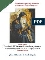 27 de Mayo. San Beda El Venerable, confesor y doctor. Propio y Ordinario de la santa misa