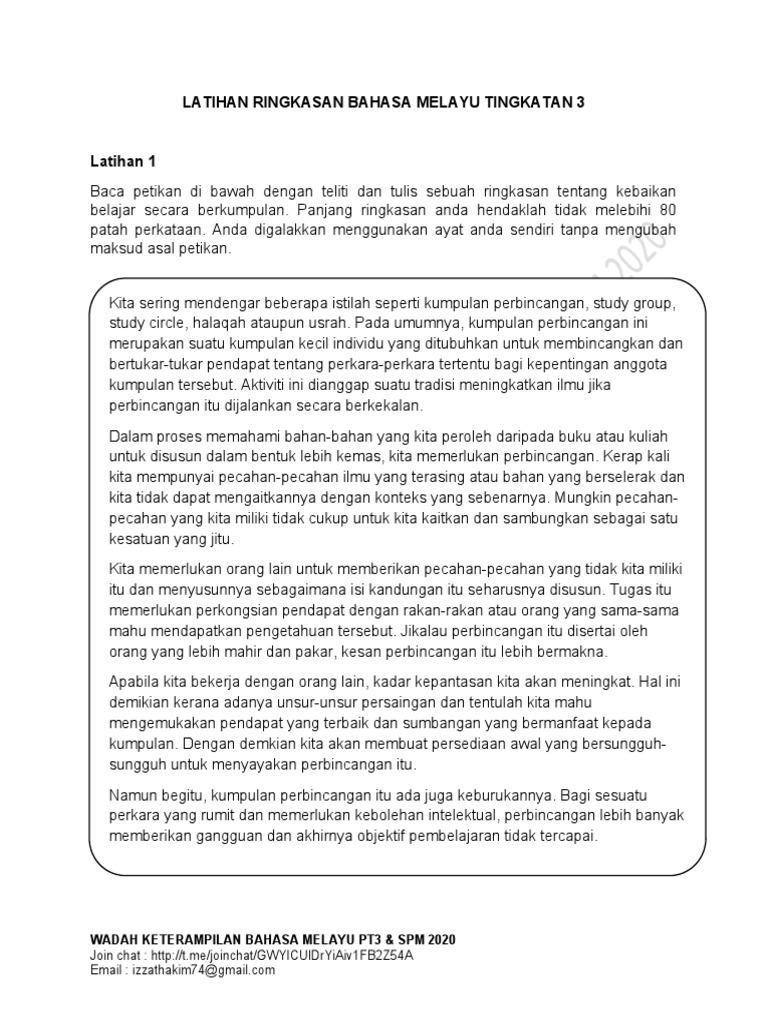 Latihan Ringkasan Bahasa Melayu Tingkatan 3