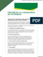 Prevenção ao coronavírus na Petrobras