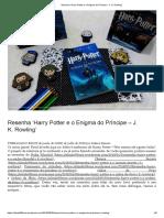 Resenha 'Harry Potter e o Enigma do Príncipe – J. K. Rowling'