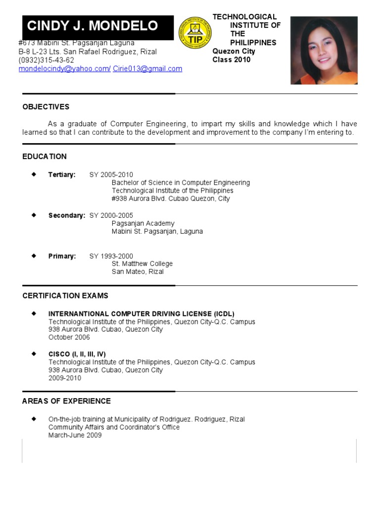 Unusual Resume Application Form Philippines Photos   Entry Level .