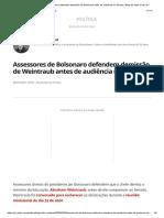 Assessores de Bolsonaro defendem demissão de Weintraub antes de audiência no Senado _ Blog do Valdo Cruz _ G1
