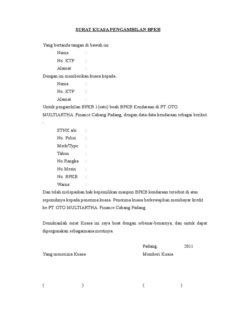 Contoh Gambar Surat Kuasa Pengambilan Bpkb Motor