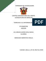 TAREA 3 MARCO JURÍDICO DEL DERECHO A LA INFORMACIÓN Y LA LIBERTAD DE EXPRESIÓN