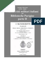 Marsand Antonio. Italian Military Manuscripts in Paris' Public Libraries. 1838. Vol. II