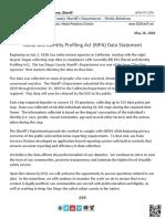 20200526 RIPA Data Statement With Report SDSheriffNewsReleaseEmail16524
