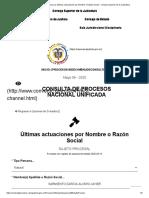 Consulta de Procesos por Ultimas actuaciones por Nombre o Razón Social - Consejo Superior de la Judicatura