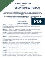 CODIGO SUSTANTIVO DEL TRABAJO - DECRETO 2663 DE 1950