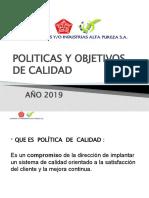 CAPACITACION-POLITICAS Y OBJETIVOS DE CALIDAD PRESENTACION -2019-