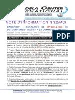 CAMEROUN, COMMUNIQUE SUR LA   TENTATIVE DE MAQUILLAGE DES DETOURNEMENTS 0 LA COMMUNE D'EBONE