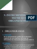 Unidad V.  INSTRUMENTOS Y TECNICAS DE ORGANIZACION parcial