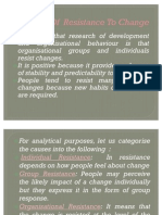 Causes of Resistance to Change