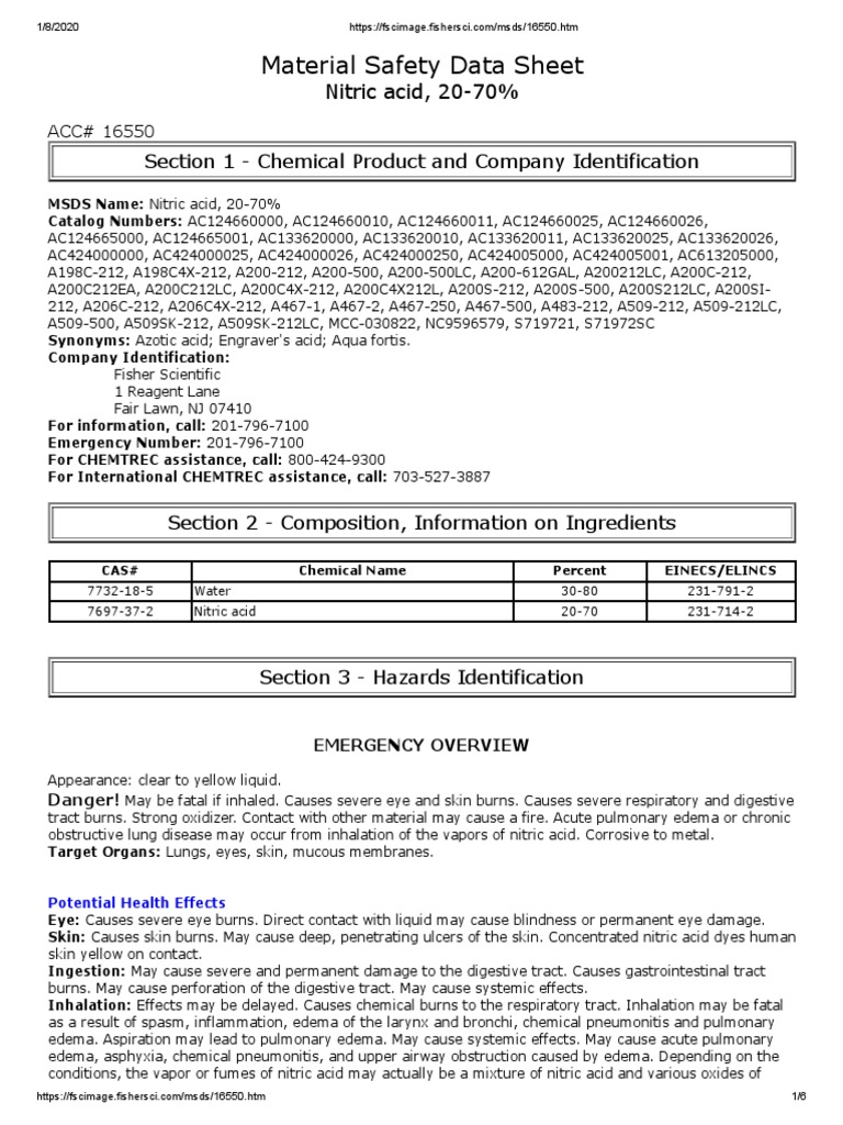 Material Safety Data Sheet Section 1 Chemical Product And Company Identification Nitric Acid Personal Protective Equipment