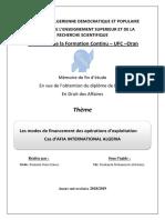 Les modes de financement des operations exploitation Cas AFIA INTERNATIONAL ALGERIA.pdf