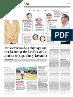 Directivos de Chimpum en la mira de las fiscalías anticorrupción y lavado